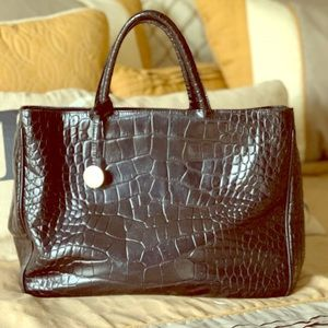 Furla Black Crocodile Leather Handbag